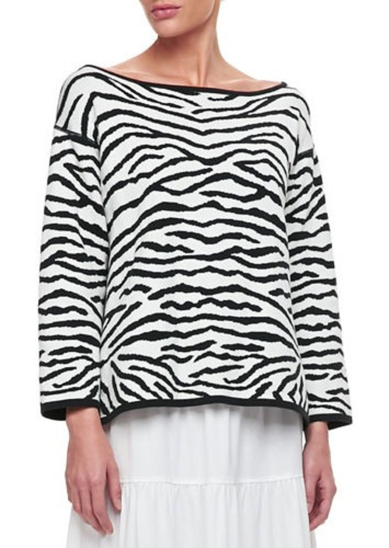 Joan Vass Reversible Animal Print Pullover Sweater