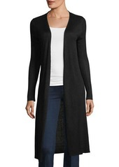 Joan Vass Ribbed Open-Front Duster Cardigan