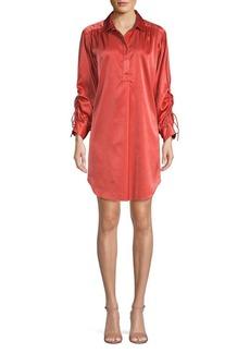 Joan Vass Ruched Tie Sleeve Shirtdress