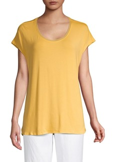 Joan Vass Scoopneck Flutter-Sleeve Top