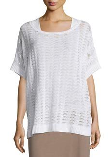 Joan Vass Short-Sleeve Scalloped Easy Sweater