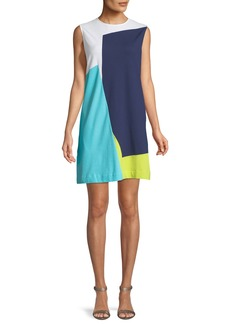 Joan Vass Sleeveless Colorblock Shift Dress