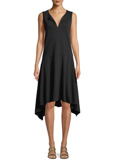 Joan Vass Sleeveless Cotton Handkerchief-Hem Dress