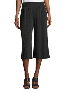 Joan Vass Smocked-Waist Wide-Leg Culottes