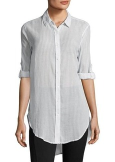 Joan Vass Striped Cotton Button-Front Blouse