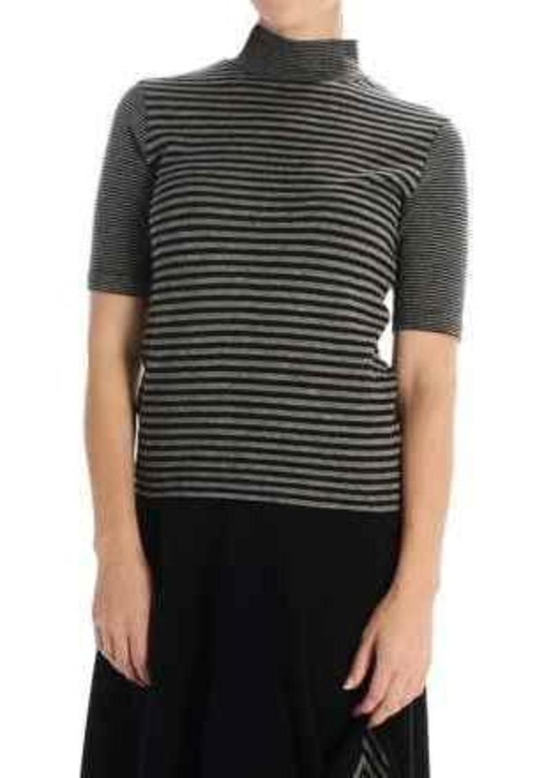 Joan Vass Striped Turtleneck - Elbow Sleeve (For Women)