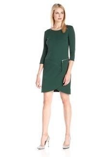 Joan Vass Women's Three Quarter Sleeve Scoop Neck Dress
