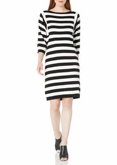 Joan Vass Women's 3/4 Sleeve Stripe Dress