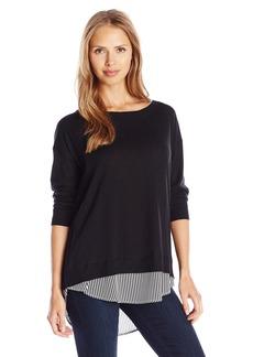 Joan Vass Women's 3/4 Sleeve Sweater with Stripe Silk