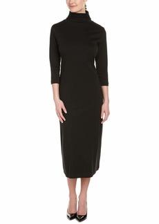 Joan Vass Women's 3/4 Sleeve Turtleneck Column Dress