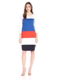 Joan Vass Women's Color-Block Dress with Mesh Yoke