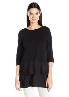 Joan Vass Women's Cotton Interlock Tunic with Woven Hem  S