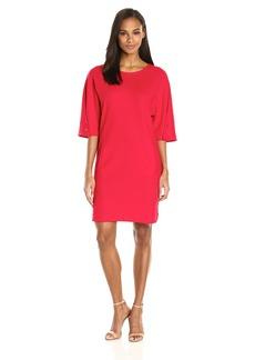 Joan Vass Women's Cotton Pique Dress with Snap Sleeve  L
