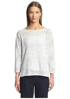 Joan Vass Women's Floral Pointelle Sweater  S