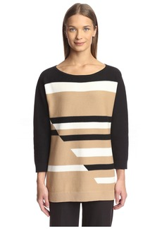 Joan Vass Women's Graphic Link Sweater  XL