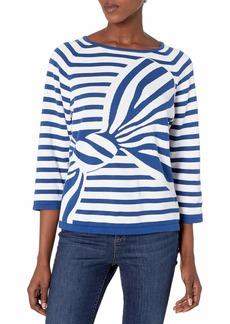 Joan Vass Women's Intarsia Stripe Bow Sweater  M