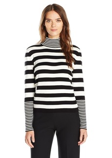 Joan Vass Women's Knit Striped Turtleneck