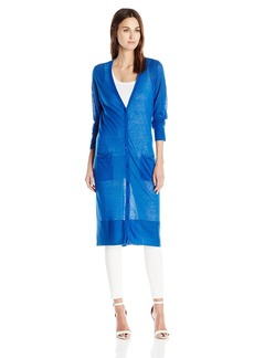 Joan Vass Women's Long Sheer Cardigan