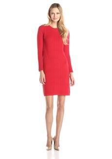 Joan Vass Women's Long Sleeve Sandstitch Dress