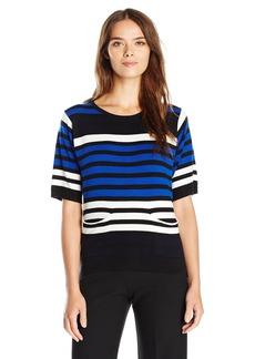 Joan Vass Women's Multi Color Stripe Sweater