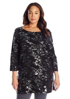 Joan Vass Women's Plus Size 3/4 Sleeve Sequin Tunic