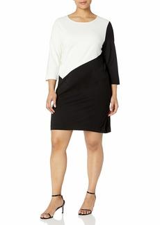 Joan Vass Women's Plus Size Colorblocked Dress