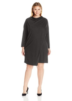 Joan Vass Women's Plus Size Draped Front Dress  2X