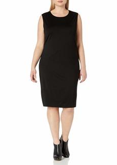 Joan Vass Women's Plus Size Geometric Seamed Dress