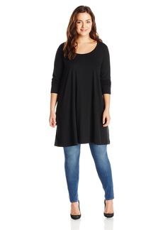 Joan Vass Women's Plus Size Long Sleeve Scoop Neck Tunic