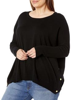 Joan Vass Women's Plus Size Side Snap Sweater