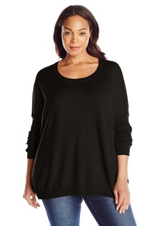 Joan Vass Women's Plus Size Side Snap Sweater