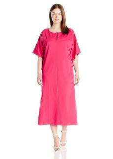 Joan Vass Women's Plus Size Slit Neck Dolman Dress 100 Percent Pima Cotton  2X