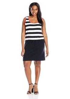 Joan Vass Women's Plus Size Stripe Color Blocked Cotton Dress  3X