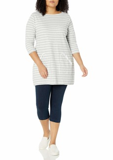 Joan Vass Women's Plus Size Stripe Cotton Tunic