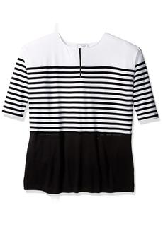 Joan Vass Women's Plus Size Striped Cotton Dress with Zippers  3X
