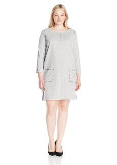 Joan Vass Women's Plus Size Studded Cotton Dress  2X