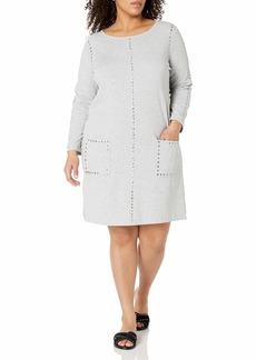 Joan Vass Women's Plus Size Studded Cotton Dress