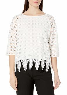 Joan Vass Women's Plus Size Woven Lace Top