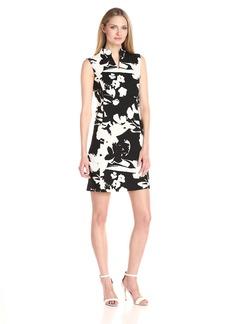Joan Vass Women's Printed Stretch Pique Cotton Dress  M