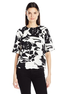 Joan Vass Women's Printed Stretch Pique Top  L