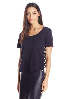 Joan Vass Women's Short Sleeve Top with Lacing