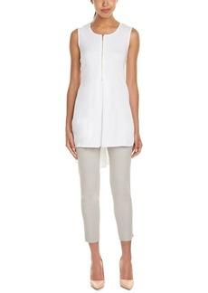 Joan Vass Women's Sleeve Less Zip Front Hi-Lo Tunic