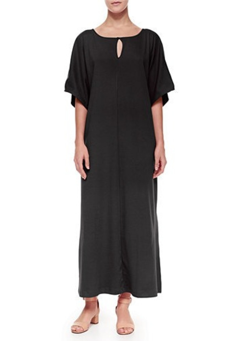 Joan Vass Plus Size Keyhole-Front Long Dolman Dress