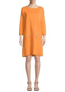 Joan Vass Knit Zip-Pocket Shift Dress  Petite
