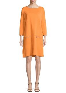 Joan Vass Knit Zip-Pocket Shift Dress