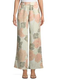 Linen-Blend Wide-Leg Floral Pants
