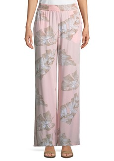 Joan Vass Linen-Blend Wide-Leg Leaf-Pattern Pants