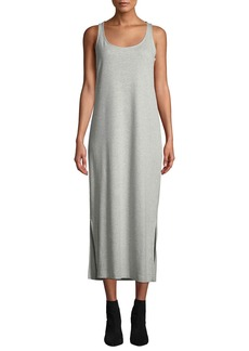 Joan Vass Long Scoop-Neck Cotton-Interlock Tank Dress w/ Side Slits
