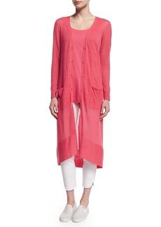 Joan Vass Long Sheer Button-Front Cardigan