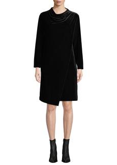 Joan Vass Plus Size Long-Sleeve Draped-Front Velvet Dress w/ Side Pockets